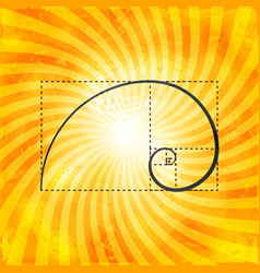 golden ratio figure on textured sunray background vector image