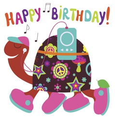 Happy birthday card with turtle vector image vector image