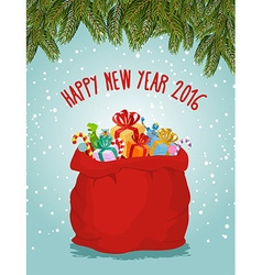 Happy new year Santa big bag full of presents vector image vector image