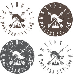 Hunting club labels set with arrows and fox tail vector