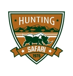 Hunting safari heraldic badge with african rhino vector