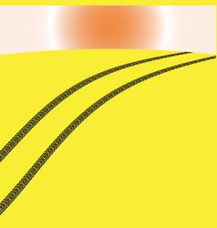 Image of car tracks in the desert vector
