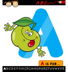 letter a with apple cartoon vector image