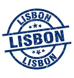 Lisbon blue round grunge stamp vector