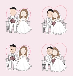 Married cute wedding cartoon vector image