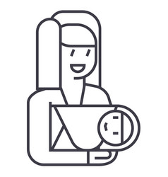 mother with newborn line icon sign vector image vector image