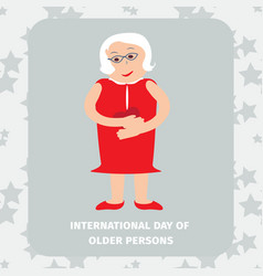 Old woman senior lady with glasses walking vector