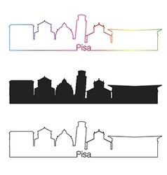 Pisa skyline linear style with rainbow vector