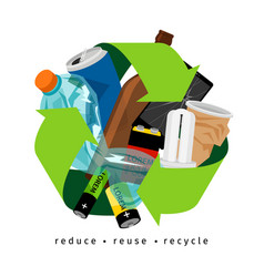Recycling label with trash vector