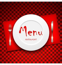 Restaurant menu design with plate and silverware vector