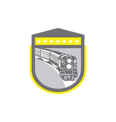 Steam train locomotive retro shield vector