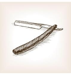 Straight razor sketch style vector