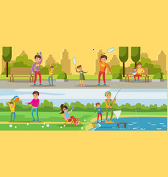summer leisure activity horizontal banners vector image vector image