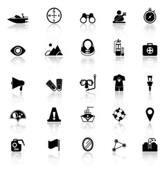 Waterway related icons with reflect on white vector image vector image