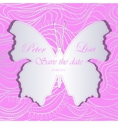 wedding invitation with silver waves and butterfly vector image