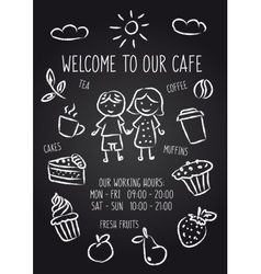 Welcome to our cafe chalkboard poster vector