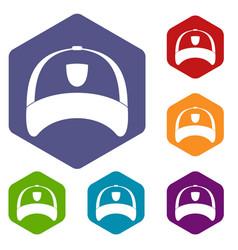 Winter hat icons set hexagon vector