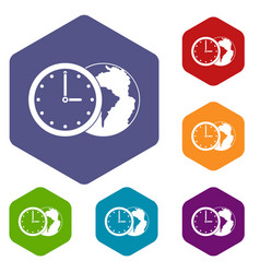 world planet with watch icons set hexagon vector image vector image