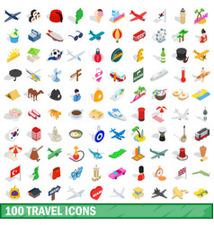 100 travel icons set isometric 3d style vector
