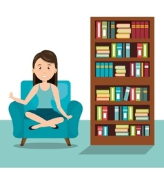 Woman sitting on sofa icon vector