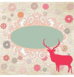 Christmas deer template card vector image