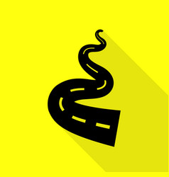 road simple sign black icon with flat style vector image