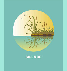 Cane reed on lake landscape icon for travel vector