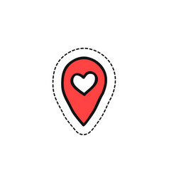 Map pointer with heart doodle icon vector
