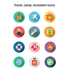 Travel camp recreation flat colored icons vector