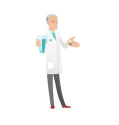 Senior pharmacist giving pills and glass of water vector