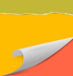 Torn Paper Background with Bent Corner vector image