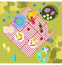 Summer picnic on nature landscape with blanket and vector