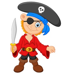 Cartoon captain pirate holding a sword vector