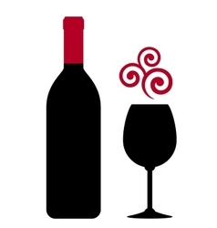 Red wine bottle glass and design element vector