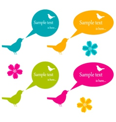 Speech buubles and birds set vector image