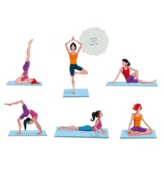 Women practicing yoga vector