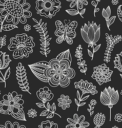 Seamless pattern with chalk flowers vector