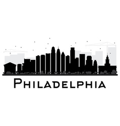 Philadelphia city skyline black and white silhouet vector