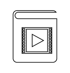 Electronic book with play button isolated icon vector