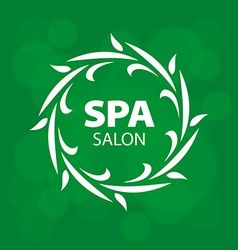 Abstract logo for a spa on a green background vector image vector image