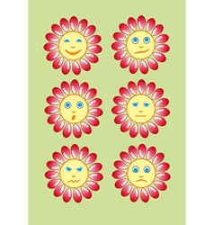 Beautiful and funny yellow smiley in a small set vector image