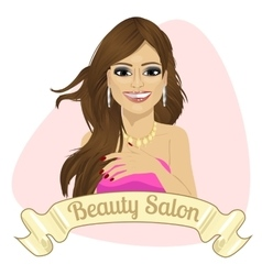 beautiful fashion latin woman behind ribbon vector image