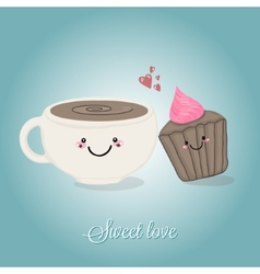 Coffe cup and cupcake sweet tandem vector
