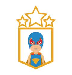 Colorful silhouette with half body boy superhero vector