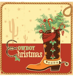 Cowboy christmas card with text and boot vector image