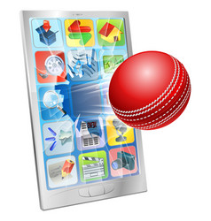 Cricket ball flying out of cell phone vector
