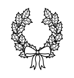Crown christmas ornament silhouette with leaves vector