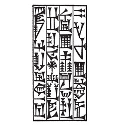 Cuneiform or writing script vintage engraving vector