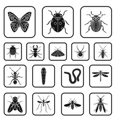 Different kinds of insects black icons in set vector