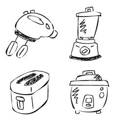 Doodle kitchen appliances vector